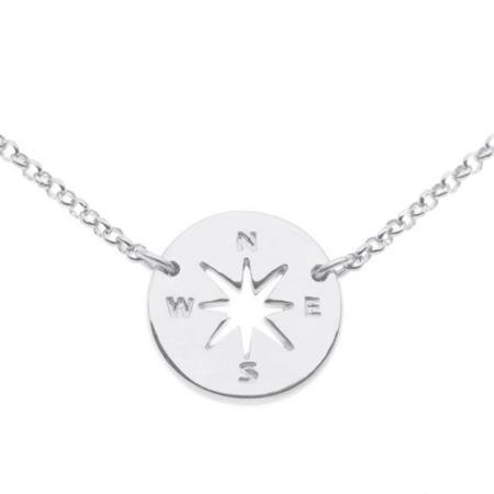 Naszyjnik srebrny Róża Wiatrów Kompas srebro 925