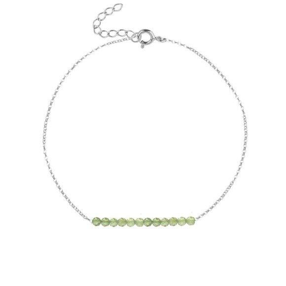 SIERPIEŃ - bransoletka srebrna z oliwinem