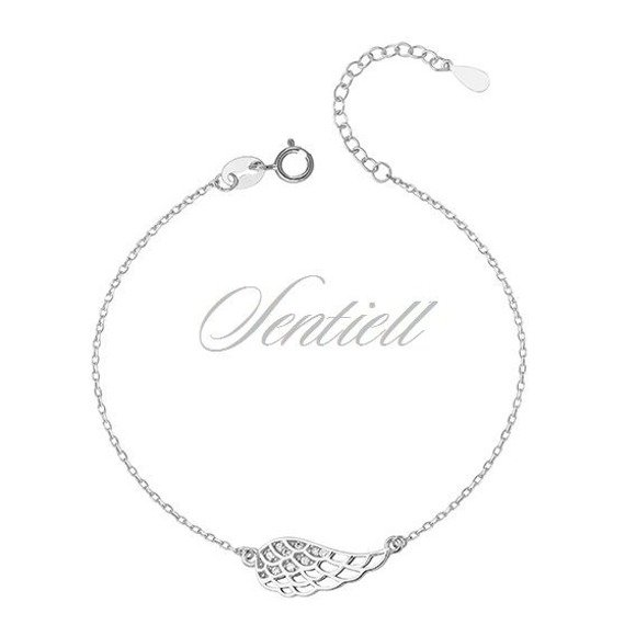 Srebrna elegancka bransoletka pr. 925 skrzydło anioła z cyrkoniami