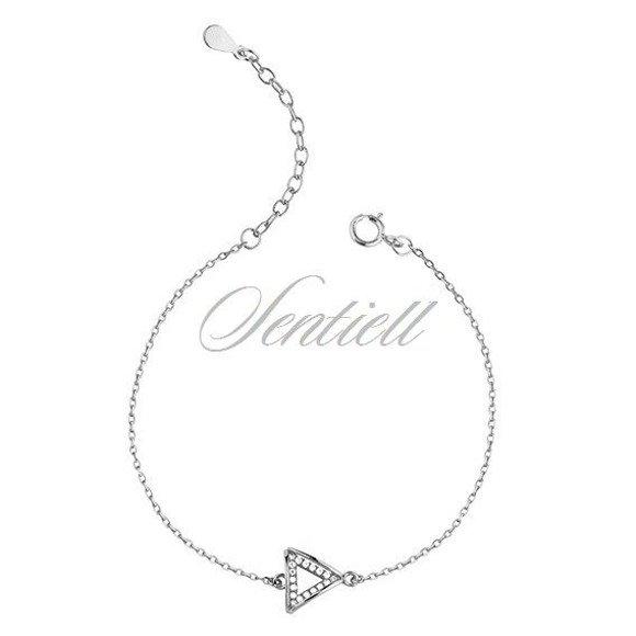 Srebrna pr.925 bransoletka - trójkąt z cyrkoniami