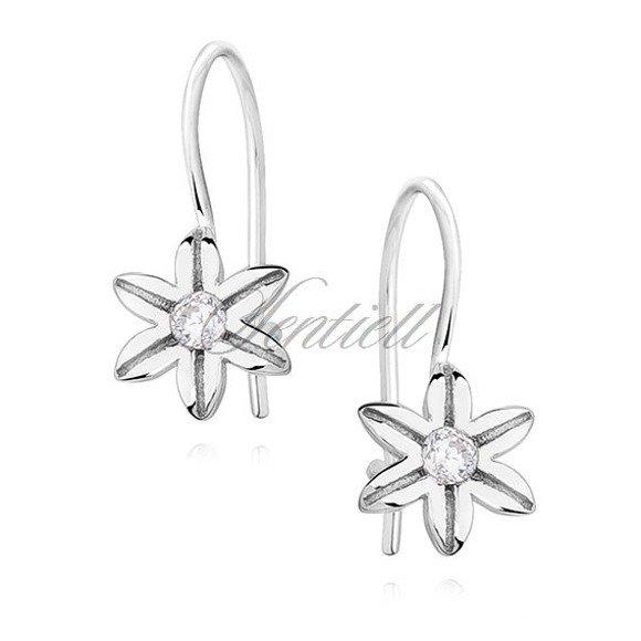 Srebrne kolczyki dla dziewczynki pr 925 małe kwiatki z cyrkonią białą