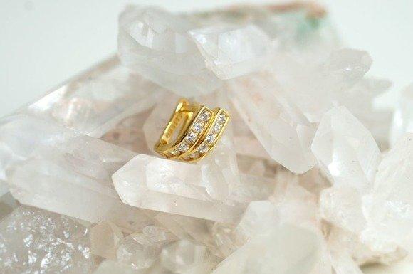 Srebrne kolczyki pr.925 cyrkonia biała złocone
