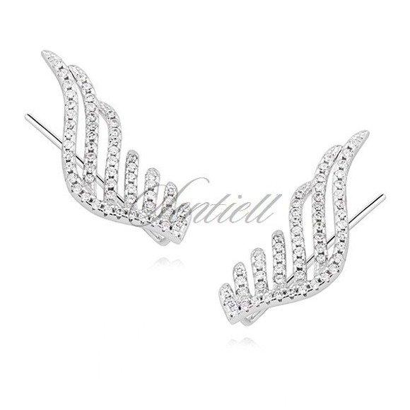 Srebrne kolczyki pr. 925 nausznice - skrzydła z cyrkoniami