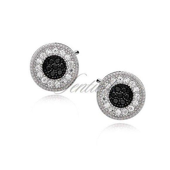 Srebrne pr.925 okrągłe kolczyki z białymi i czarnymi cyrkoniami