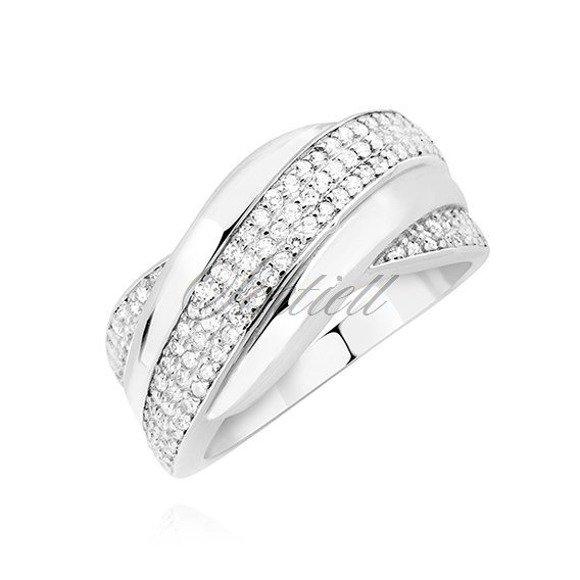 Srebrny duży elegancki pierścionek pr.925 z białymi cyrkoniami