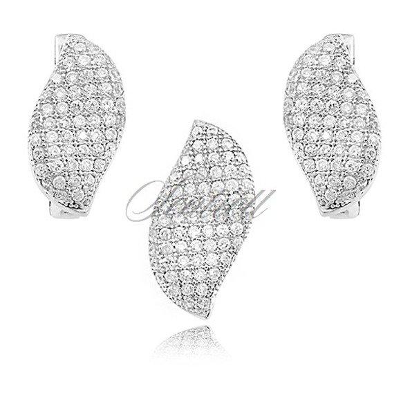 Srebrny komplet pr.925 cyrkonie białe