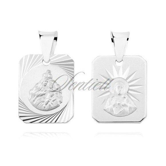 Srebrny prostokątny diamentowany medalik Jezus Matka / Boska Szkaplerzna