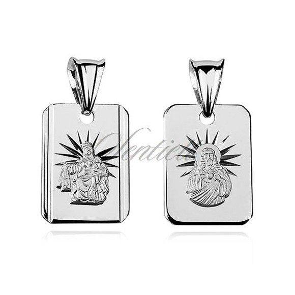 Srebrny medalik Jezus Matka / Boska Szkaplerzna