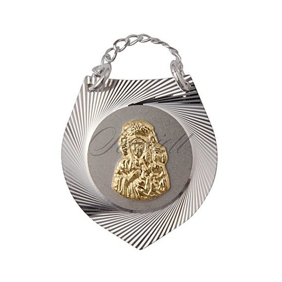 Srebrny medalik Ryngraf pozłacana Matka Boska prezent na chrzest
