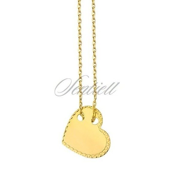 Srebrny naszyjnik pr.925 diamentowane serce - pozłacany