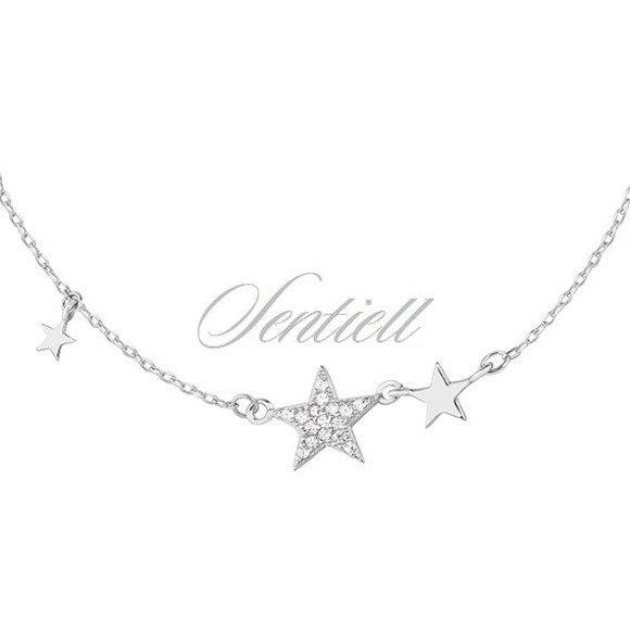 Srebrny naszyjnik pr.925 gwiazdki z cyrkonią