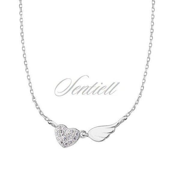 Srebrny naszyjnik pr.925 serce z cyrkoniamii i skrzydło