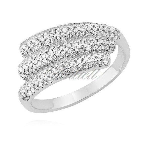 Srebrny nietypowy pierścionek skrzydło pr.925 z białymi cyrkoniami