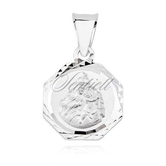 Srebrny ośmiokątny bogato zdobiony medalik Jezus Matka / Boska Szkaplerzna