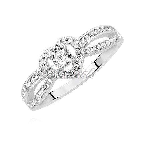 Srebrny pierścionek pr.925 serduszko z białą cyrkonią