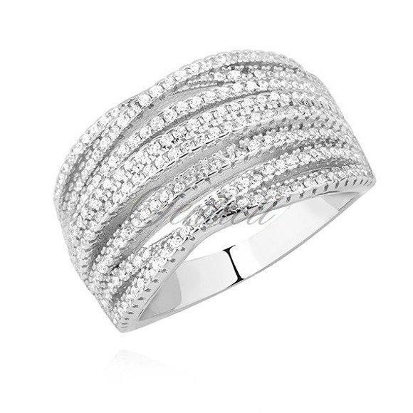 Srebrny pierścionek pr.925 z białą cyrkonią