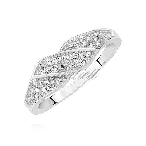 Srebrny elegancki pierścionek pr.925 z białą cyrkonią