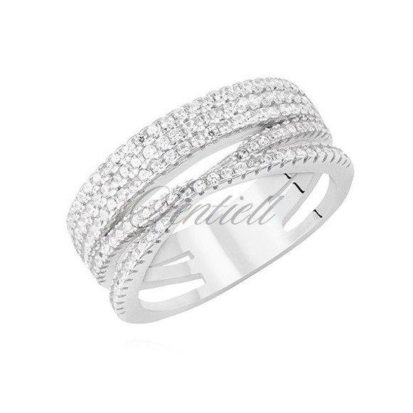 Srebrny szeroki pierścionek pr.925 z białą cyrkonią skrzyżowany