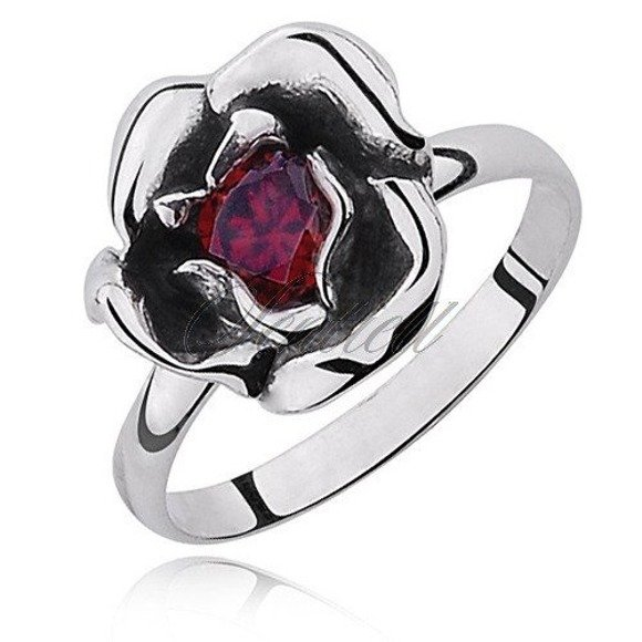 Srebrny pierścionek pr.925 z czerwoną cyrkonią kwiat