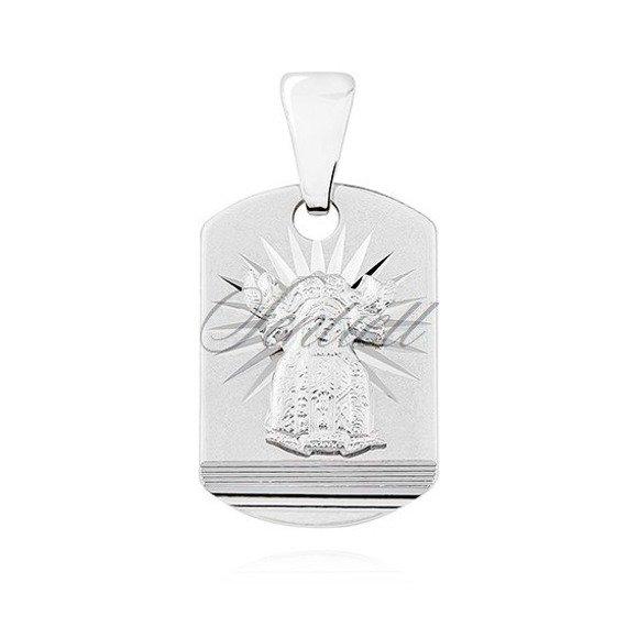 Srebrny (pr.925) klasyczny medalik dla chłopca diamentowany Matka Boska Nieustającej pomocy