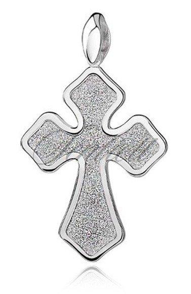 Srebrny (pr.925) krzyżyk z ozdobnym diamentowaniem