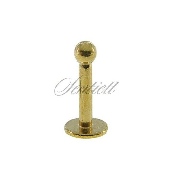 Stalowy (316L) kolczyk labret z kulką - do warg i podbródka - złoty