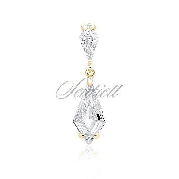 Zawieszka pozłacana elegancka ślubna z dużymi kryształami pr.925